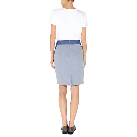 Buy NW3 By Hobbs Matelasse Fitted Skirt, Rain Blue Online at johnlewis.com