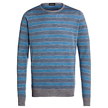 Buy John Smedley Esmond Striped Merino Wool Jumper, Silver/Lunar Blue Online at johnlewis.com