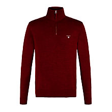 Buy Gant Washed Cotton Half Zip Jumper, Burgundy Online at johnlewis.com