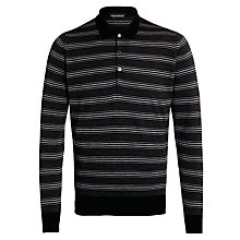 Buy John Smedley Gaspor Merino Fine Stripe Top, Black/Charcoal Online at johnlewis.com