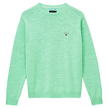 Buy Gant Cotton Crew Neck Jumper, Green Online at johnlewis.com