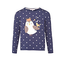 Buy John Lewis Girl Owl Applique Top, Navy Online at johnlewis.com