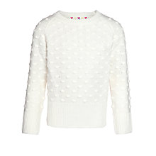 Buy John Lewis Girl Bobble Knit Jumper, White Online at johnlewis.com