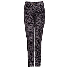 Buy John Lewis Girl Leopard Print Twill Trousers, Grey Online at johnlewis.com