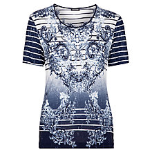 Buy Gerry Weber Embellished Print T-Shirt, Indigo/White Online at johnlewis.com