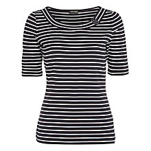 Buy Gerry Weber Stripe Scoop Neck Top, Navy/White Stripe Online at johnlewis.com
