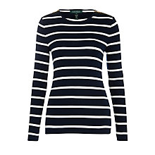 Buy Lauren by Ralph Lauren Gacy Striped Knitted Top, Regal Navy & Modern Cream Online at johnlewis.com