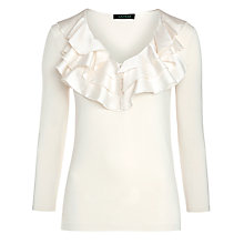 Buy Lauren Ralph Lauren Ruffled Cotton Shirt, Modern Cream Online at johnlewis.com