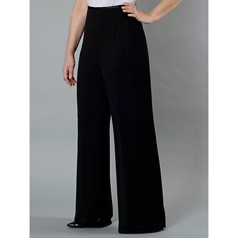 Buy Chesca Black Side Pintuck Chiffon Trousers, Black Online at johnlewis.com