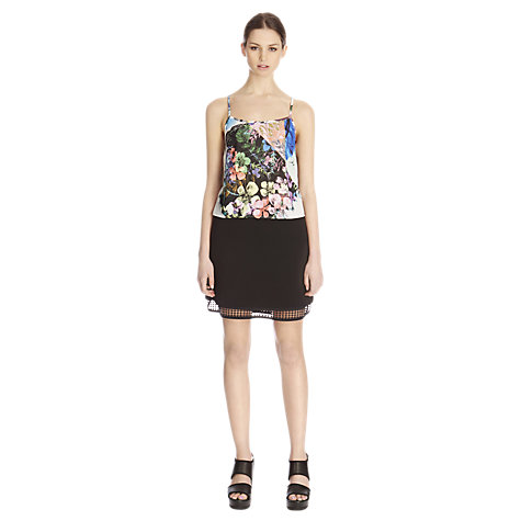 Buy Warehouse Airtex Lace Panel Skirt, Black Online at johnlewis.com