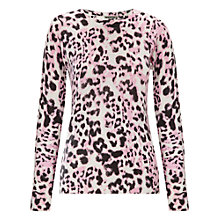 Buy Whistles Brushed Fur Print Jumper, Pink Online at johnlewis.com