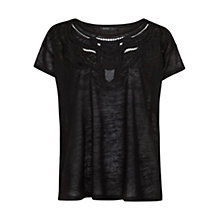 Buy Mango Beaded Embroidered T-Shirt, Black Online at johnlewis.com