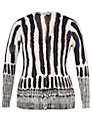 Chesca Brush Stroke Print Cardigan, White