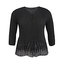 Buy Chesca Spot Lined Border Laser Blouse, Black Online at johnlewis.com