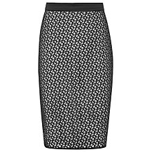 Buy Reiss Lace Pencil Merida Skirt, Black/Neutral Online at johnlewis.com