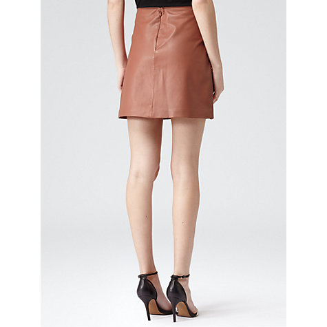 Buy Reiss Leather Mini Aline Skirt, Warm Rose Online at johnlewis.com