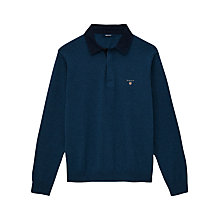 Buy Gant Solid Rugby Shirt, Denim Blue Mel Online at johnlewis.com