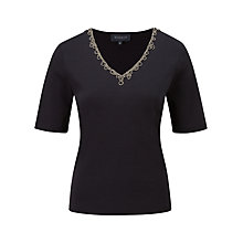 Buy Viyella Beaded V-Neck Top, Indigo Online at johnlewis.com
