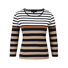 Buy Viyella Breton Stripe Top, Sand Online at johnlewis.com