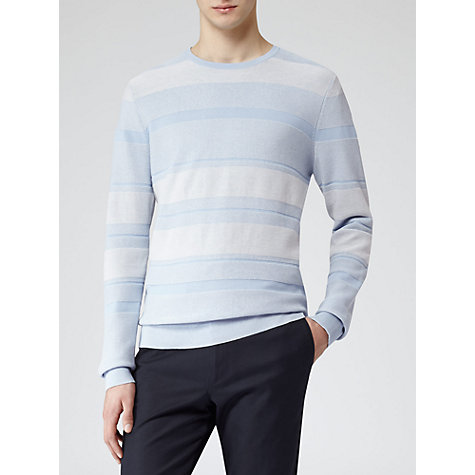 Buy Reiss Gower Rib Detail Jumper, Blue Online at johnlewis.com