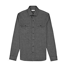 Buy Reiss Lex Slim Fit Chest Pocket Shirt, Black Online at johnlewis.com