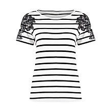 Buy Kaliko Stripe Embroidered Top, Black Multi Online at johnlewis.com