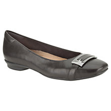 Buy Clarks Candra GlareLeather Ballerinas, Black Online at johnlewis.com