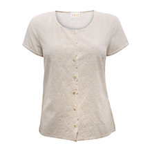 Buy East Cotton Dobby Blouse, Pearl Online at johnlewis.com