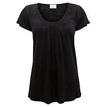 Buy East Pleat Front Linen Top, Black Online at johnlewis.com