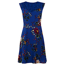Buy Oasis Oriental Bird Print Skater Dress, Blue Multi Online at johnlewis.com