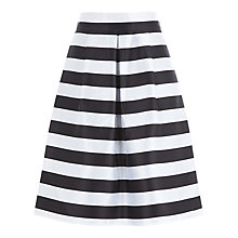Buy Kaliko Stripe Monochrome Skirt, Black Online at johnlewis.com