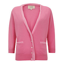 Buy Havren Chiffon Trim Wool Cardigan, Bubblegum Online at johnlewis.com
