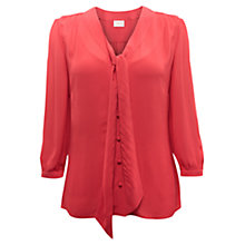 Buy East Tie Front Blouse, Rouge Online at johnlewis.com