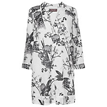Buy Phase Eight Blanche Floral Linen Blend Tunic, Charcoal/White Online at johnlewis.com