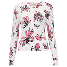 Buy Havren Squiggle Flower Print Cardigan, Bubblegum Online at johnlewis.com
