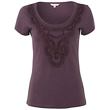 Buy White Stuff Floris Embellished T-Shirt, Dark Thistle Online at johnlewis.com