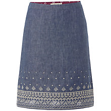 Buy White Stuff Chintz Chambray Skirt, China Blue Online at johnlewis.com