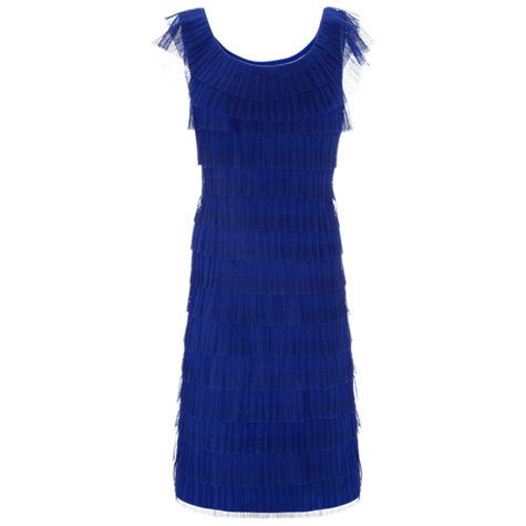 Buy Gina Bacconi Layered Pleated Dress, Royal Blue Online at johnlewis.com