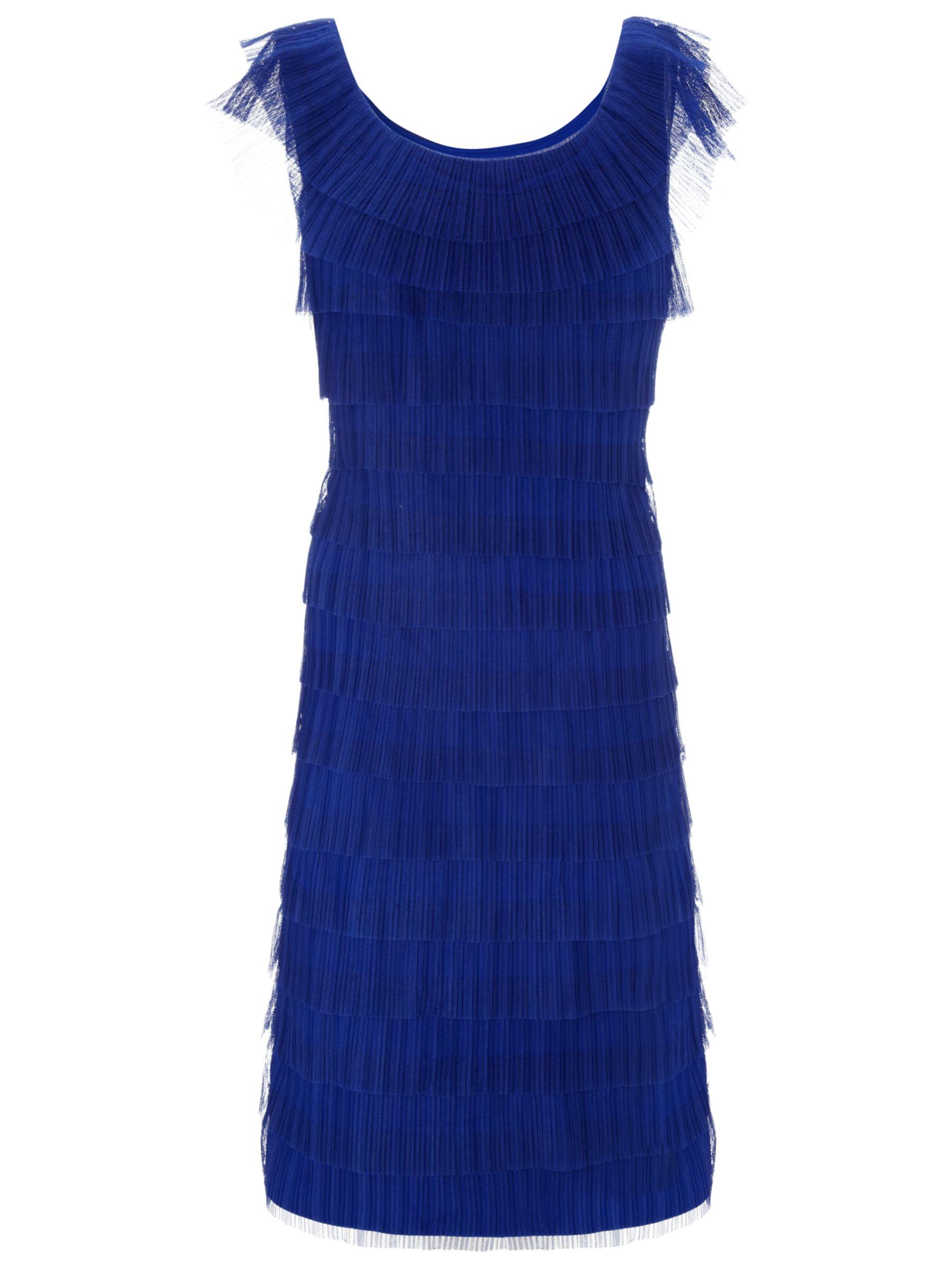 Gina Bacconi Layered Pleated Dress, Royal Blue
