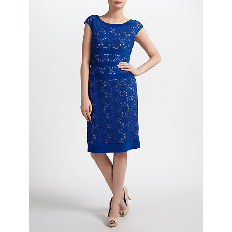 Buy Gina Bacconi Corded Lace Knit Dress, Summer Blue Online at johnlewis.com