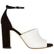 Buy Hobbs Freya Block High Heeled Sandals, White/Black Online at johnlewis.com