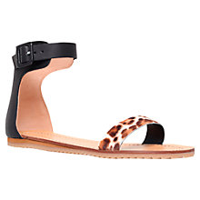 Buy Kurt Geiger Gdsport Buckle Leather Ankle Strap Flat Sandals Online at johnlewis.com
