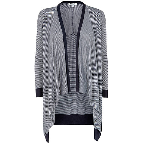 Buy Farhi by Nicole Farhi Stripe Waterfall Cardigan, Off White/Slate Online at johnlewis.com