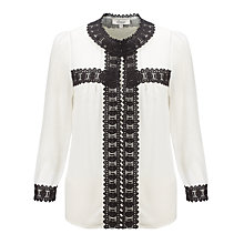 Buy Somerset by Alice Temperley Silk Deco Trim Top, Cream Online at johnlewis.com