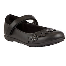 Buy John Lewis Girl Flower Applique Mary-Jane Shoes, Black Online at johnlewis.com
