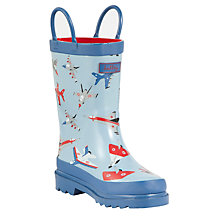 Buy Hatley Fighter Jets Pull-On Wellington Boots, Light Blue Online at johnlewis.com