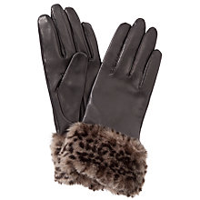 Buy John Lewis Fur Trim Leather Gloves, Black/Animal Online at johnlewis.com