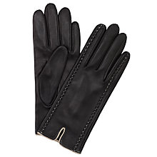 Buy John Lewis Stitch Silk Lined Leather Gloves, Black/Cream Online at johnlewis.com