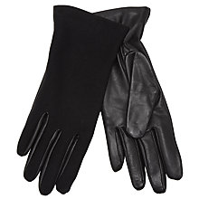 Buy John Lewis Leather/Jersey Touch Gloves, Black Online at johnlewis.com