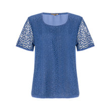 Buy Jigsaw Silk Back Lace T-shirt Online at johnlewis.com